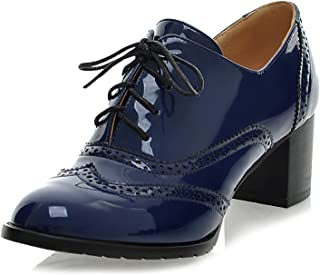 Odema Women's Classic Brogue Oxford Shoes Lace up Wingtip Chunky High Heel Booties