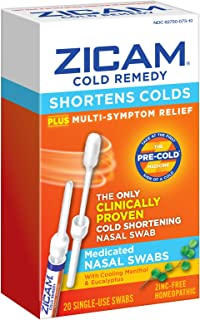 Zicam Cold Remedy Nasal Swabs, Cold-Shortening Nasal Swabs Clinically Proven to Shorten Colds. With Menthol and Eucalyptus...