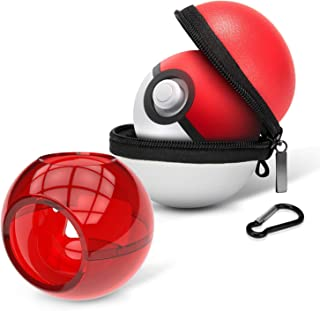 HEYSTOP Portable Carrying Case for Nintendo Switch Poke Ball Plus Controller, 2in1 Accessory Bag for Pokémon: Let's Go Pikachu Eevee Game for Nintendo Switch(Carrying Case+Clear red case)
