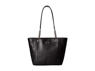 Calvin Klein Monogram East/West Tote (Black/Matte Black) Tote Handbags