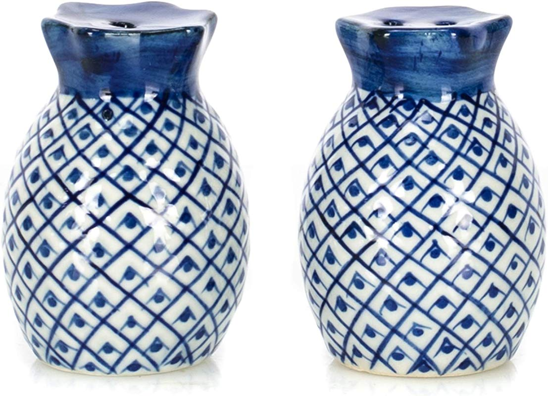Pineapple Blue And White 2 Inch Porcelain Ceramic Salt And Pepper Shaker Set