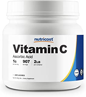 Nutricost Pure Ascorbic Acid Powder (Vitamin C) 2 LBS - High Quality, Gluten Free, Non-GMO