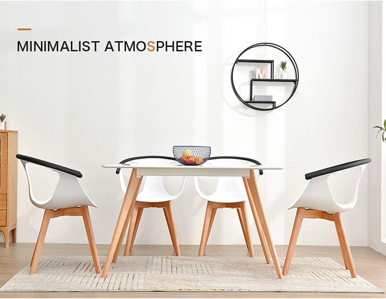 GW Chaise de salle à manger avec dossier Pieds en bois Chaise de salon pour cuisine Restaurant Lounge Blanc Noir