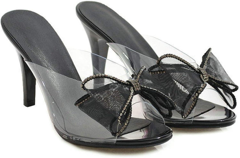 Women's High Heels Stiletto Mules Summer Peep Toe Elegant Bowknots Slip-On Slide Sandals Comfy Slingback Dress Pumps