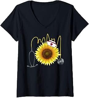 Womens Nurse Sunflower Heartbeat Gift Design For Nurses V-Neck T-Shirt
