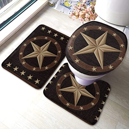 FFCrying Western Texas Star Soft Flannel Bathroom Rug Mats 3 Piece Set Bath Mat + Contour Rug + Toilet Lid Cover with Non-Slip Backing Pad