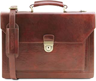 Tuscany Leather Cremona - Leather Briefcase 3 compartments - TL141732 (Brown)