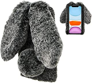 Konijn Hoes voor Samsung Galaxy A41, LCHDA Pluizig Schattige Kunstmatig konijnenbont Haar Leuk Lange Oren Pluche Zacht Har...