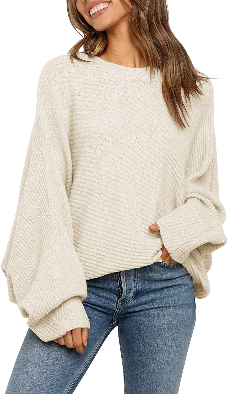 Mafulus Women's Oversized Crewneck Sweater BatwingPuffLong SleeveCable Slouchy Pullover JumperTops