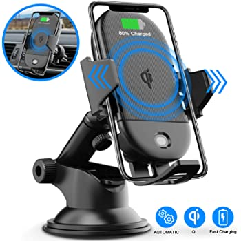 Wireless Car Charger Mount,Marchero 10W Qi Auto-Clamping Fast Charging Phone Holder Air Vent Compatible with iPhone 11 Pro Max//Xs Max//XR//Xs//8//8 Plus Samsung Galaxy S10e//S10//S10 Plus etc