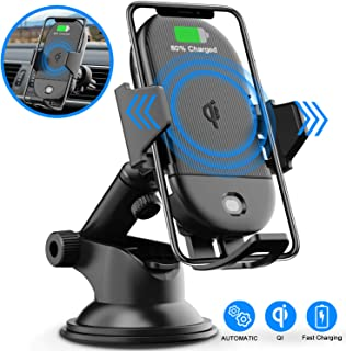 LETSCOM Wireless Car Charger,15W Qi Fast Charging Car Mount Charger Auto-Clamping Windshield Dashboard Air Vent Phone Holder Compatible with iPhone 11Pro/Max/XR/11/X/8, Samsung S10/S10+/S9/S9+/S8/S8+