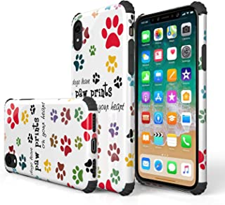 KITATA iPhone Xr Case Shockproof [Bumper Corner], Cute Animals Dog Paws Puppy Pup Print Design, [Impact Resistant] Slim Fit Drop Protection Protective TPU Silicone Pug Cell Phone Cover