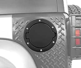 DIYTUNINGS Black Powder Coated Steel Gas Fuel Tank Cap Cover for Jeep Wrangler JK JKU Unlimited Rubicon Sahara X Off Road Sport Exterior Accessories Parts 2007-2017