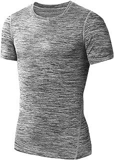 Maglia a Manica Corta Compression da Uomo Sport Baselayer Asciugatura Rapida T-Shirt da Running Modaworld S-XXXL