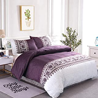 Purple Duvet Cover King 3 Pieces Modern Reversible Purple/Beige Convallaria Printed Bedding Duvet Cover with Zipper Closure, Soft Hypoallergenic Microfiber Bedding 90