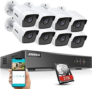 Annke Sistema de Vigilancia Ultra HD Vídeo 4K H.265 + DVR 8CH+8 Cámaras Impermeables IP67 5 Mpx Cámaras de Seguridad con 2TB Disco Duro(Visión Nocturna Acceso Remoto Detector Movimiento)