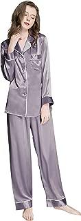Womens Silk Satin Pajamas Set Button Down Sleepwear...