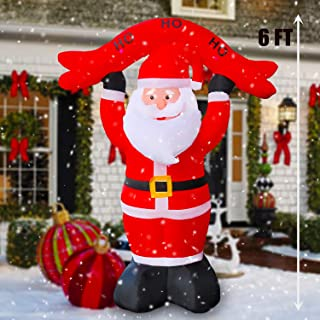 SEASONBLOW 6 Ft LED Light Up Inflatable Christmas Santa Claus Decoration with Banner for Yard Lawn Garden Home Party Indoor Outdoor