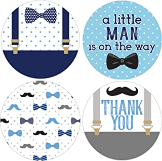 Little Man Baby Shower Favor Labels - 1.75 in - 40 Stickers