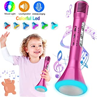Kids Karaoke Machine Wireless Singing Microphone with Bluetooth Speaker Colorful LED Lights Handheld Portable Music Playing Toys  for Girls Boys Home Party KTV Xmas Birthday Gifts Andriod iOS PC iPad