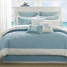 Harbor House Coastline King Size Bed Comforter Set - Blue , Jacquard Coastal Coral – 4 Pieces Bedding Sets – 100% Cotton Bedroom Comforters