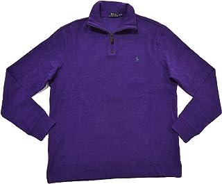 Mens French Rib Quarter Zip Mock Neck Sweater (S, Plum...