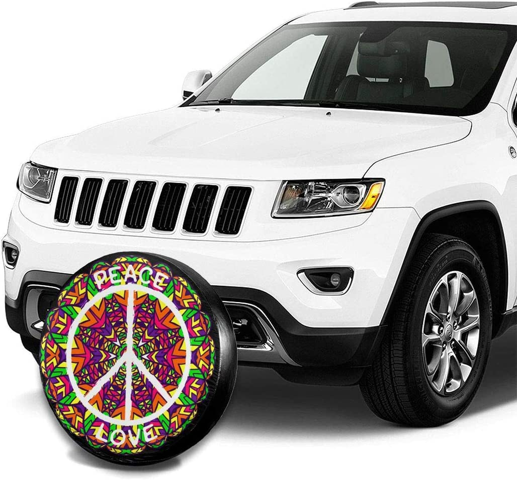 14-17 in QDBB Peace Sign Spare Tire Cover Waterproof Dust-Proof for Jeep SUV,Trailer,Camper,Rv Wheel Covers
