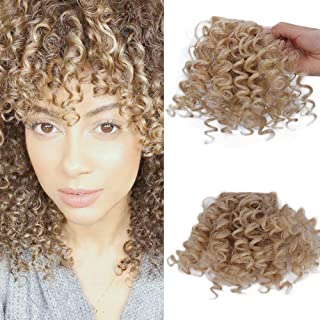 CTRLALT Kinky Curly Bangs Hair Natural Black Bangs Synthetic Afro Puff Drawstring Ponytail Hair Extensions Clip in Hair For Black Women (27-613 bangs)