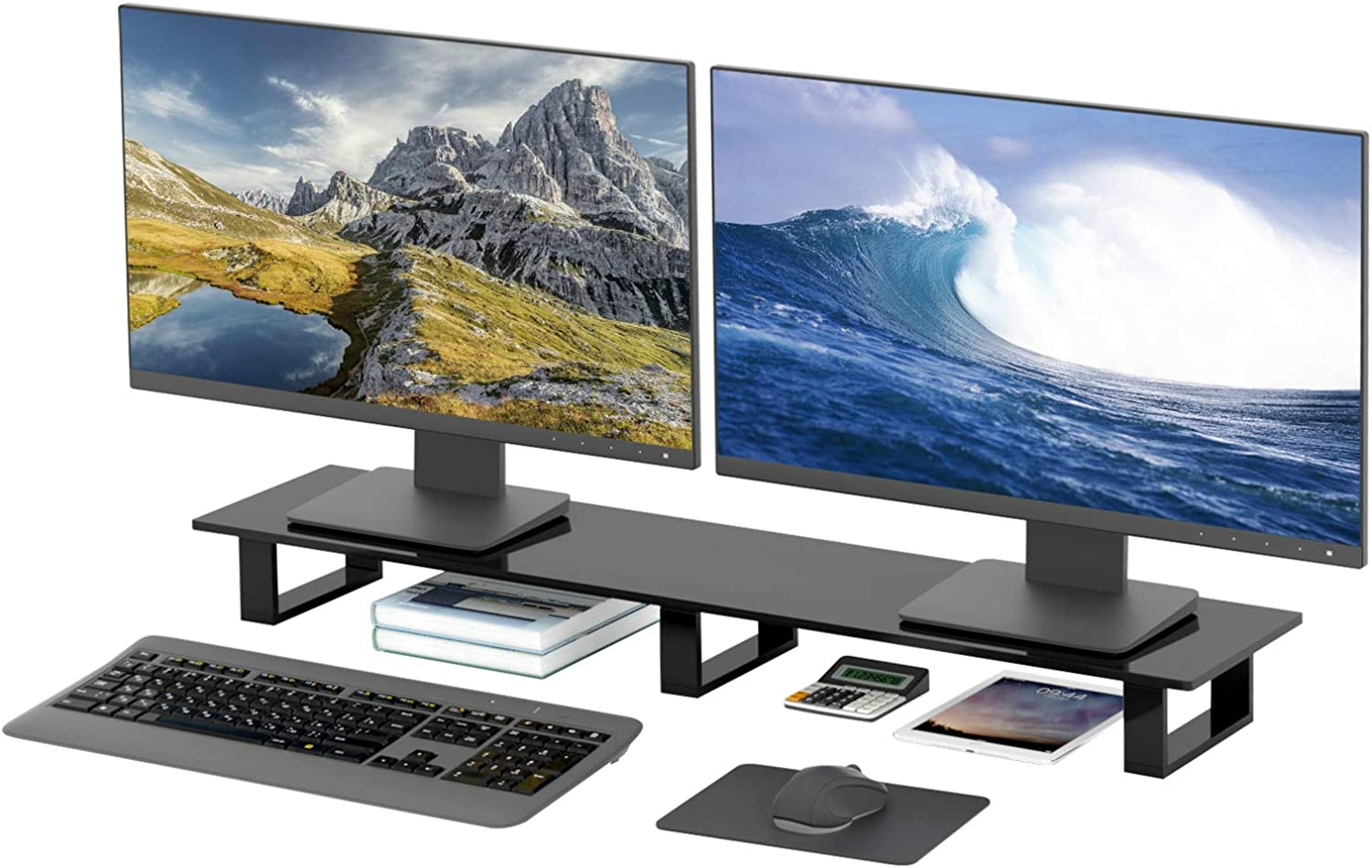 Acrylic Dual Monitor Stand, NIUBEE Extra Large Computer Monitor Stand Riser, Premium Desk Monitor Stand for Laptop/Desktop Computer/Printer TV Screen Office/Home/School.