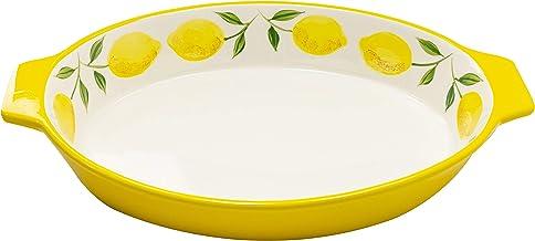 Grace Teaware Hand Painted, Glazed Ceramic Stoneware 12-Inch Casserole Baker Dish (Yellow Lemons)