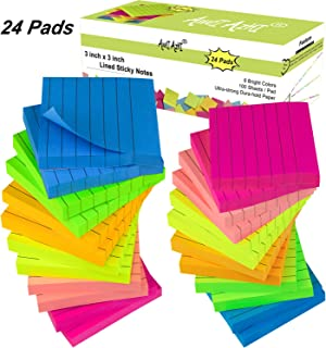 Lined Sticky Notes 3x3 Inches, 24 Pads 100 Sheets/Pad, Bright Colors Self-Stick Notes, Assorted Colors Stickies, Easy Post Notes for Reminders, Studying, School, Office, and Home (24)