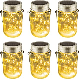 Solpex 6 Pack Hanging Solar Lights Outdoors, 15 Led String Fairy Solar Lanterns Table Lights, 6 Hangers and Jars Included. Solar Mason Jar Lid Lights for Patio Garden, Yard and Lawn
