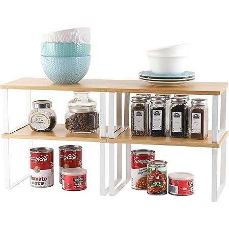 Lot de 4 étagères de rangement en métal pour placard de cuisine, Bambou Etagère Vaisselle, Organisation placard cuisine,comptoirs, garde-manger, aliments et ustensiles