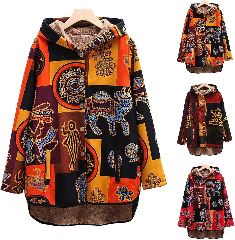 Women Winter Jacket Hooded Color Block Coats Button Fleece Lined Outwear Vintage Long Sleeve Tops