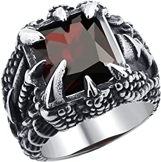 DALARAN Dragon Claw Ring for Men Boys Stainless Steel Gothic Crytsal Band Men's Biker Ring Muti-Color