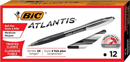 BIC Atlantis Original Retractable Ball Pen, Medium Point (1.0 mm), Black, Box of 12 Pens