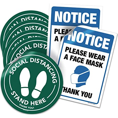 Social Distancing Stickers Floor Decals,Social Distancing Wait Here Stand Here Keep 6ft in Between,11.8 Safety Sign Marker While in Line and Work,Made to Walk on Pack of 10