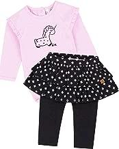 Deux par Deux Baby Girls' Pink Bodysuit and Skirted Leggings Set Unicorns and Dinos, Sizes 6M-24M