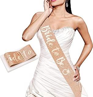 Konsait Glitter Rose Gold Bride to Be Sash-Rose Gold Bachelorette Sash- Bride Gift - Engagement Bachelorette Bride to Be Decoration for Bride Bride Shower Gift Girls Ladies Night Out Accessories
