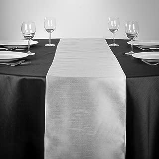 LinenTablecloth Shantung Silk Table Runner, 14 x 108, Silver