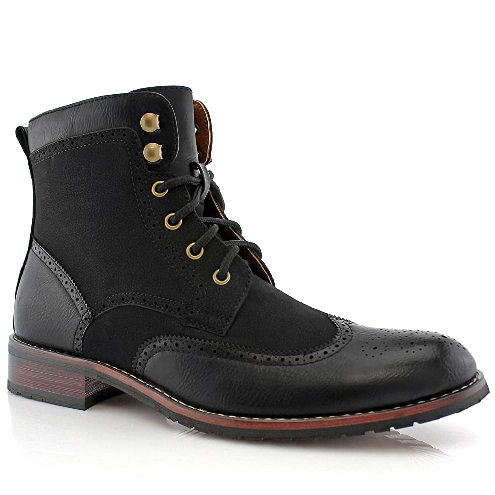 Polar Fox Jonah MPX808567 Mens Casual Perforated Vegan Leather High-Top Red Wing tip Brogue Western Derby Dress Boots