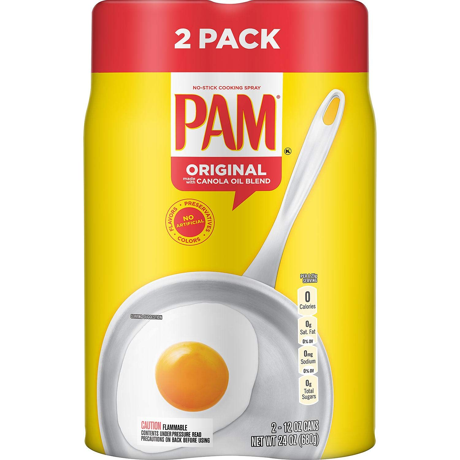 Pam Original No-Stick Raleigh Mall Cheap mail order shopping Cooking Spray 100% natural Oil 2 Canola p