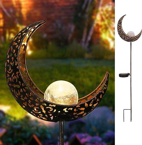 Homeimpro Garden Solar Lights Pathway Outdoor Moon Crackle Glass Globe Stake Metal Lights,Waterproof Warm White LED f...