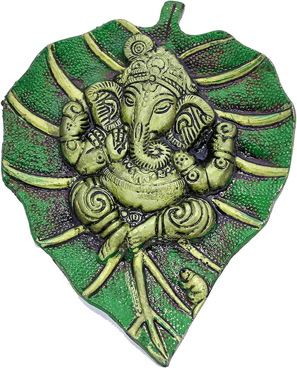 Green Metal Ganesha Ranking TOP3 Wall SEAL limited product Hanging Home cm D 17.5