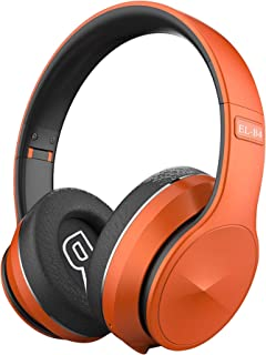 Bluetooth Headphones Wireless,Over Ear Stereo Wireless Headset with Soft Memory-Protein Earmuffs, Built-In Mic Wired Mode PC/Cell Phones/TV,Orange