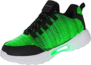 Hotdingding Women Men Kids Fiber Optic LED Shoes Light Up Sneakers with USB Charging Flashing Festivals Party Dance Luminous Shoes