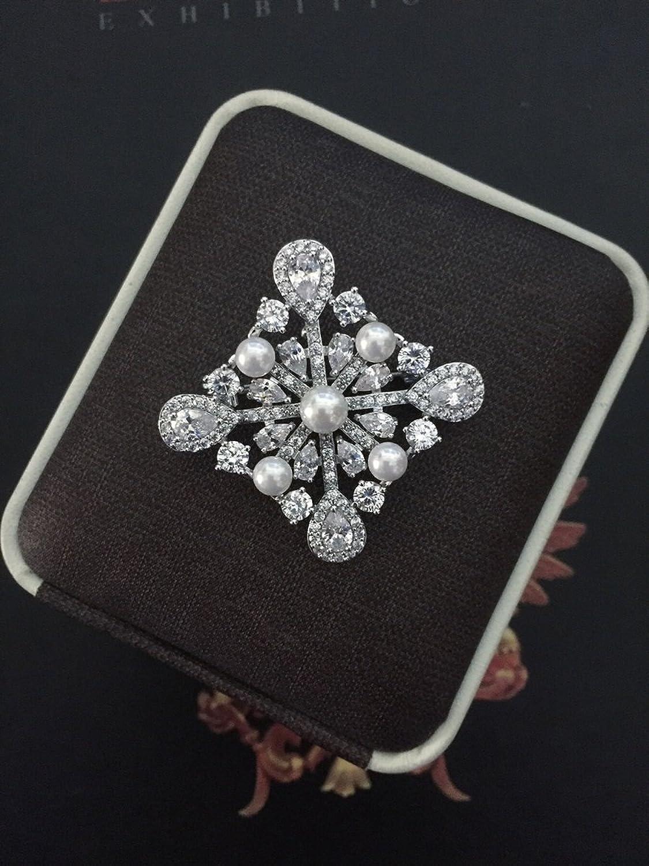 Retro Palace Square Diamond Zircon Brooch pin Badge pin Brooch pin Badge Pearl Collar pin Necklace Pendant France