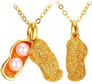 Personalized Peanut Pendant Necklace with Pink Synthetic Pearl Charm Necklace & Chain