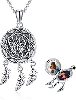 Sponsored Ad - Sterling Silver Butterfly Dream Catcher/Dragonfly/Angle Wing Stethoscope/Bee/Leaf Lockets Necklace That Hol...