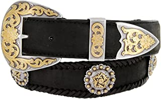 "Gold Coloma Concho Men's Western Leather Belt 1 1/2"" (38mm) Wide"